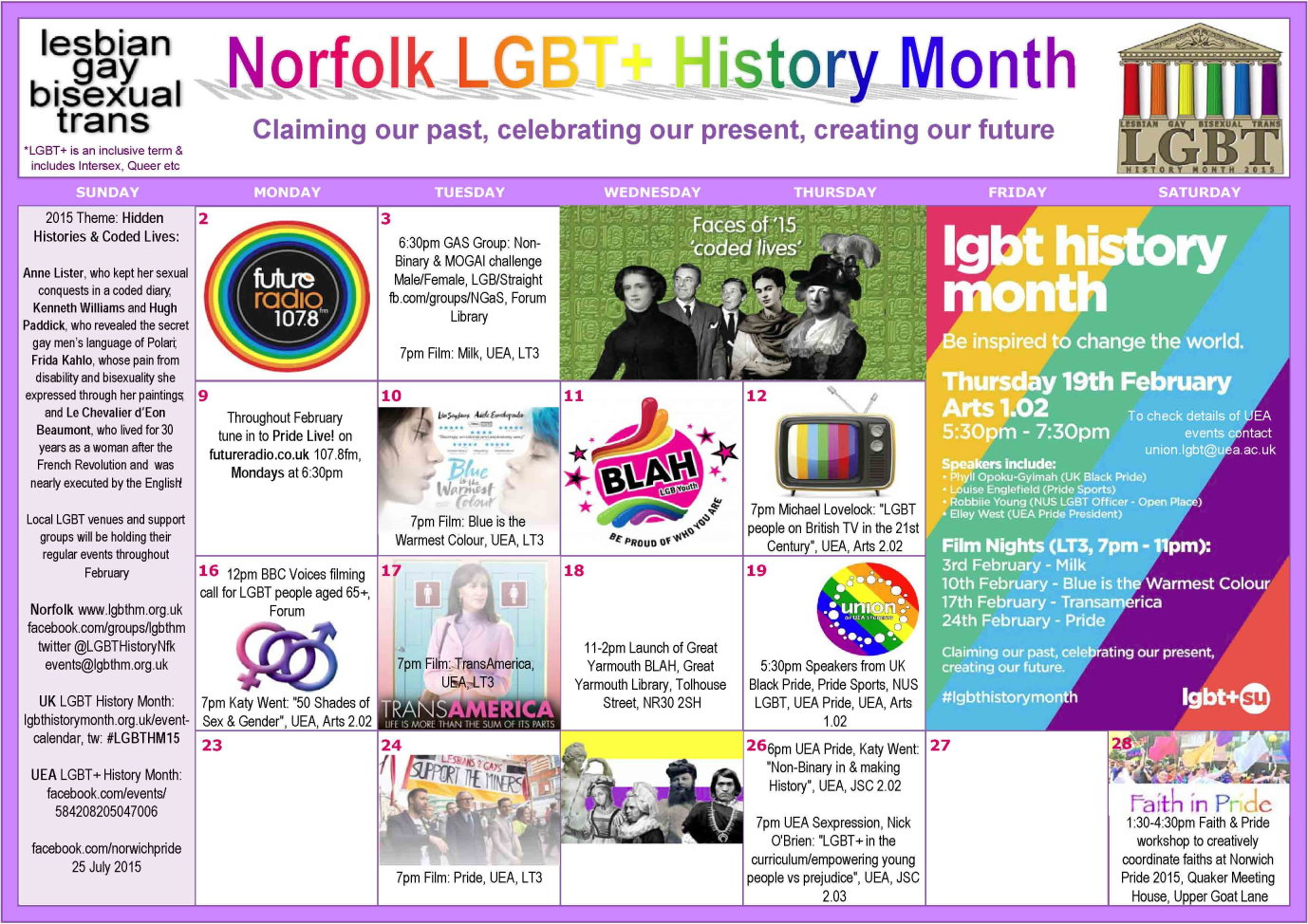 Click to view or download full A4 LGBT History Month Norfolk pdf calendar