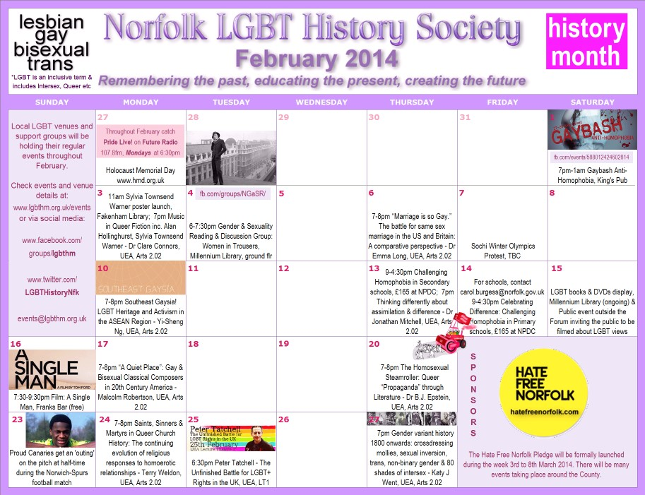 LGBT History Month Norfolk 2014 Events Calendar